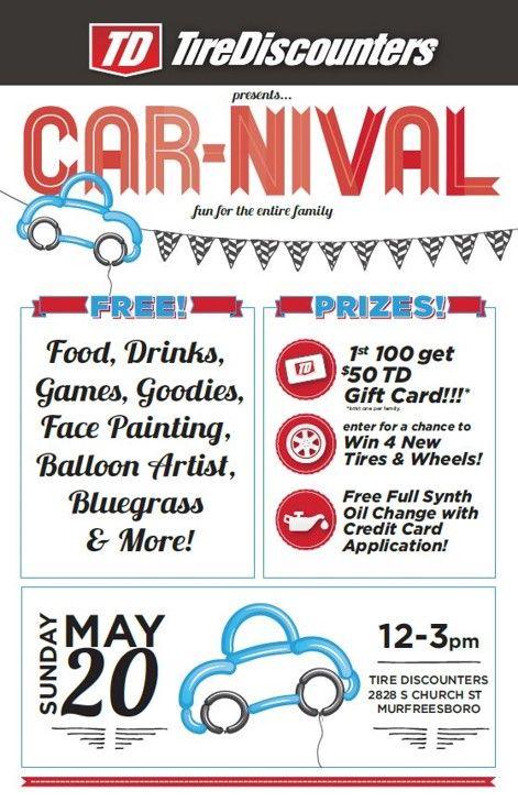 Car Nival Event May 20 12 3pm Murfreesboro Tn Tire Discounters